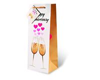 Printed Paper Wine Bottle Bag  - Happy Anniversary-17518