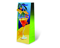 Printed Paper Wine Bottle Bag  - Life's a Beach-17520