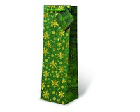 Printed Paper Wine Bottle Bag  - Green and Gold Snowflakes-17527