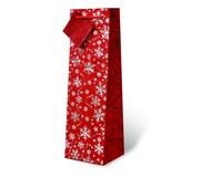 Printed Paper Wine Bottle Bag  - Red and Silver Snowflakes-17528