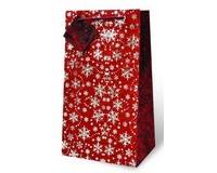 Red and Silver Snowflake Two Bottle Wine Gift Bag-17588