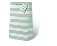 Silver Foil Stripe Two Bottle Wine Gift Bag-17614