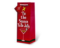Tis The Season To Be Jolly Wine Bottle Gift Bag-17615