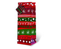 Printed Paper Wine Bottle Bag  - Christmas Doodles-17695