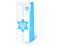 Printed Paper Wine Bottle Bag  - Happy Hanukkah-17718