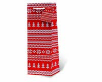 Red Holiday Sweater Wine Bottle Gift Bag-17819