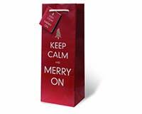 Merry On Wine Bottle Gift Bag-17867