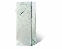 Frosted Snowflakes - Silver Wine Bottle Gift Bag-17929