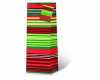 Christmas Stripes Wine Bottle Gift Bag-17945