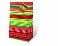 Christmas Stripes Two Bottle Wine Gift Bag-17958