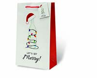 Let's Get Merry Two Bottle Wine Gift Bag-18001