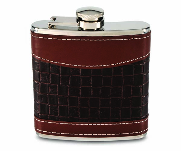 6 OZ  Mixed Weave Faux Leather Flask