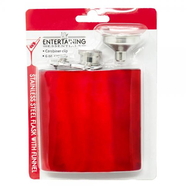 6 OZ  Red Carabiner Flask