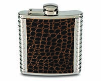 6 OZ Flask - Dark Brown & Metal-26486
