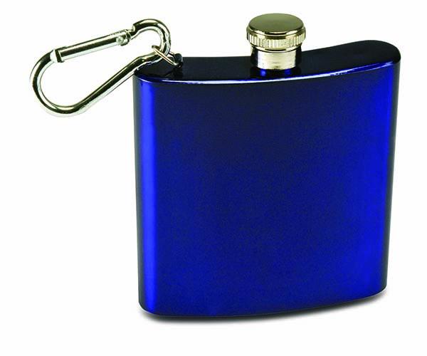 6 OZ Blue carabiner Flask