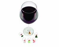 Wine  Charms - Glass Christmas Trees-26638