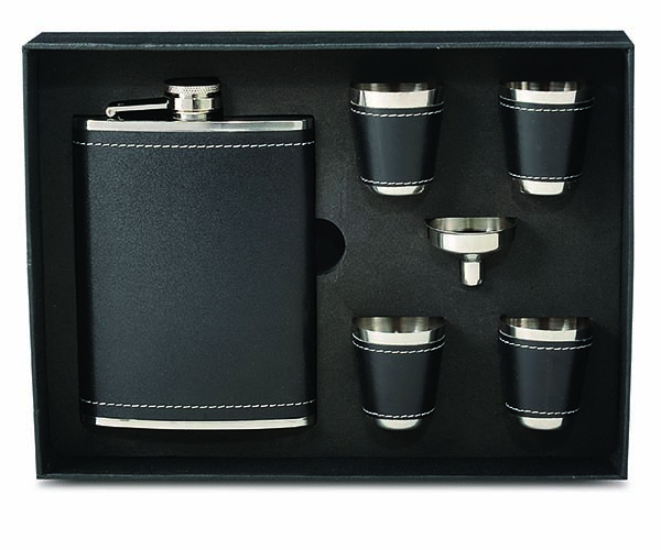 Stainless Steel and Faux Black Leather Flask Gift Set