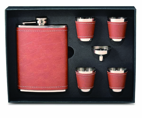 Stainless Steel and Faux Leather Flask Gift Set