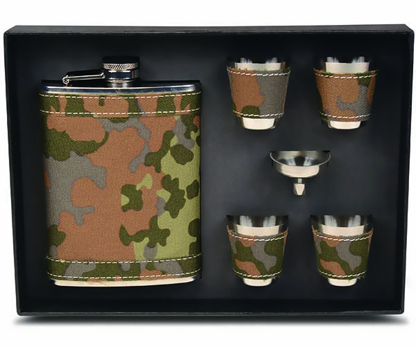 Stainless Steel and Camouflage Fabric Flask Gift Set
