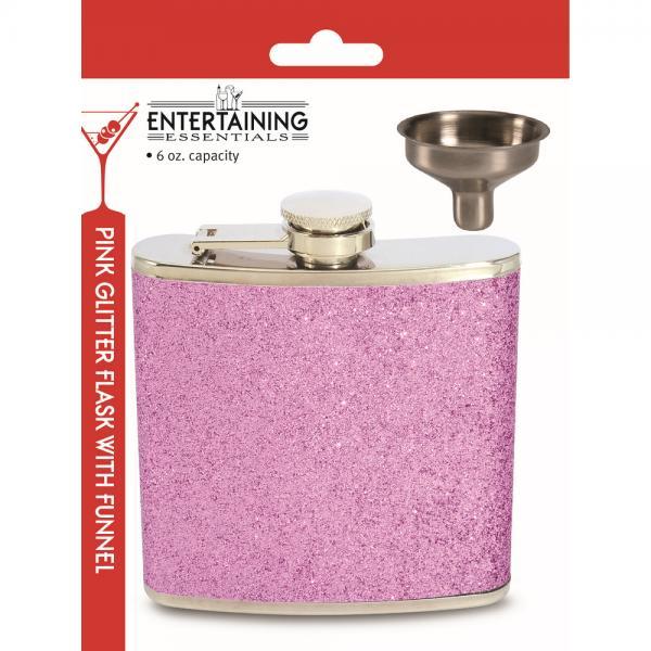 6 OZ Flask - Pink Glitter