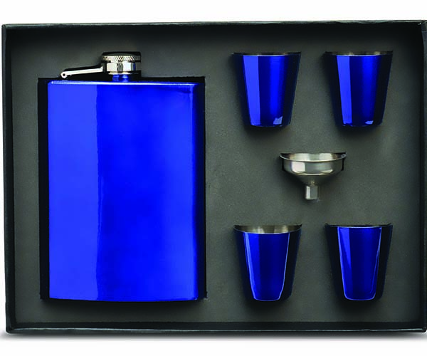 Stainless Steel Blue 8oz Flask Gift Set