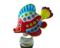 Glass Wbs Tropical Fish Spotted Red/White/Blue 14112