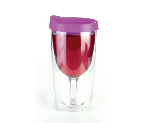 Vingo 10Oz Double-Walled Wine Tumbler with Purple Lid AC1003