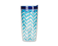 Vingo 10Oz Double-Walled Wine Tumbler - Chevron Lt Blue-AC1105