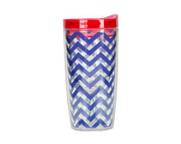 Vingo 10Oz Double-Walled Wine Tumbler - Chevron Navy-AC1107