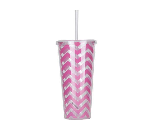 Thirzt 2 Go Tumbler with Lid & Straw - Chevron Pink AC3004
