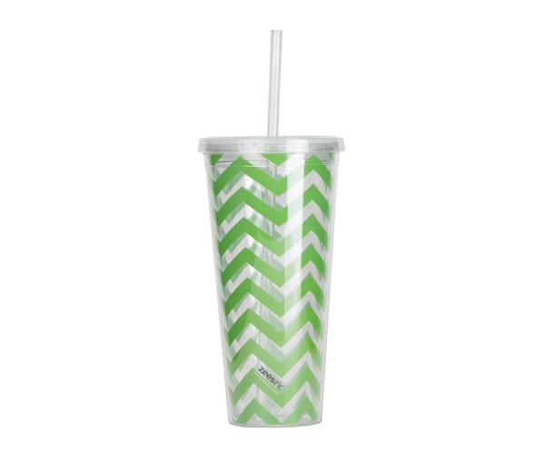 Thirzt 2 Go Tumbler with Lid & Straw - Chevron Lime Green AC3006