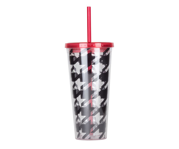 Thirzt 2 Go Tumbler with Lid & Straw - Houndstooth