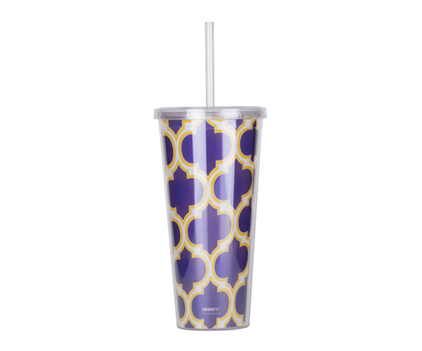 Thirzt 2 Go Tumbler with Lid & Straw - Moroccan Purple/Yellow
