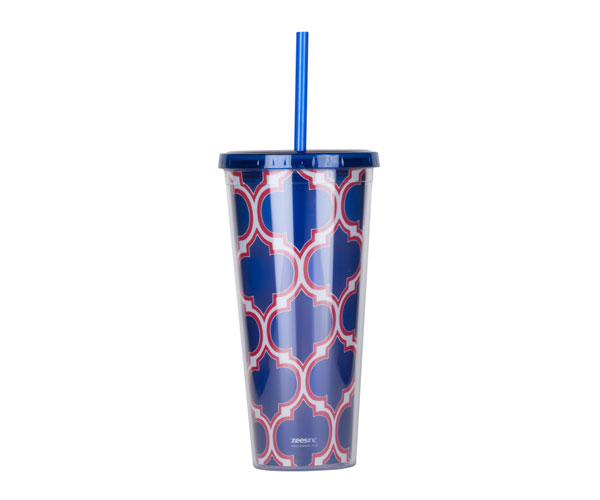 Thirzt 2 Go Tumbler with Lid & Straw - Moroccan Blue/Red