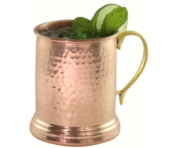 24 oz Tankard Hammered Copper Mug with Brass Handle