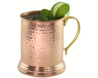 24 oz Tankard Hammered Copper Mug withBrass Handle AC6007