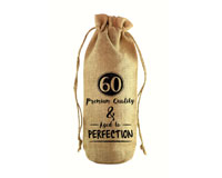 60 & Aged to Perfection Jute Wine Bottle Sack JB1005