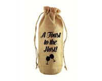 A Toast to the Host Jute Wine Bottle Sack-JB1021