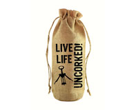 Live Life Uncorked! Jute Wine Bottle Sack