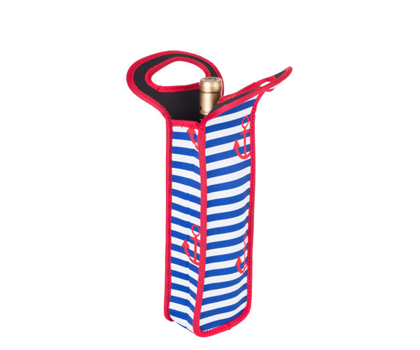 Neoprene Anchor Design Wine Bottle Tote (Holds 1 Bottle) NP107'