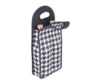 Neoprene Double Wine Bottle Tote - Houndstooth-NP206