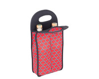 Neoprene Wine Tote Double Bottle - Red & Black-NP209