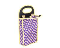 Neoprene Double Wine Bottle Bag - Purple & Yellow-NP211
