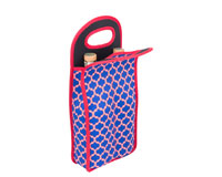 Neoprene Double Wine Bottle Bag - Red & Blue-NP212