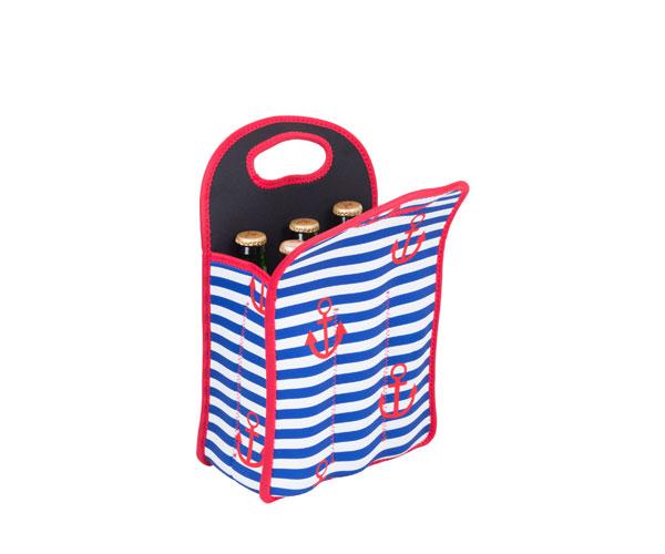 Neoprene 6-Pack Tote Stripes & Anchors