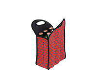 Neoprene 6 Pack Beer Tote - Red & Black-NP309