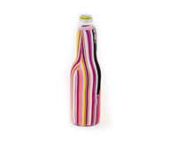 Neoprene Beer Bottle Jacket withZipper - Bright Stripes-NP401