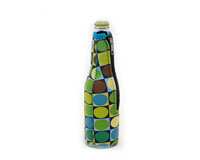 Neoprene Beer Bottle Jacket withZipper - Circles & Squares-NP404
