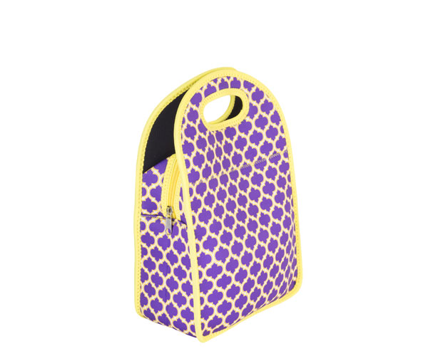 Neoprene Lunch Tote - Purple & Yellow