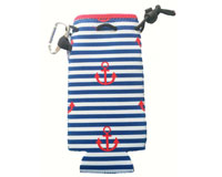 Neoprene Bottle Cooler with Carabiner - Stripes & Anchors-NP807